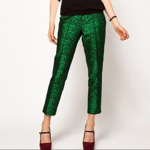 ASOS Green Spotted Jacquard Trousers
